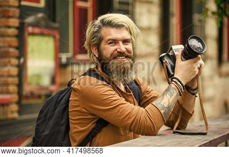 Old Technology. Journalist Reporter. Professional Photographer Use Vintage Camera. Photography Busin