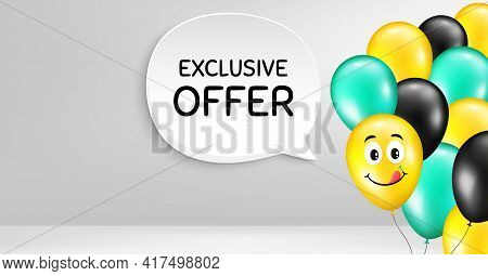 Exclusive Offer. Smile Balloon Vector Background. Sale Price Sign. Advertising Discounts Symbol. Bir