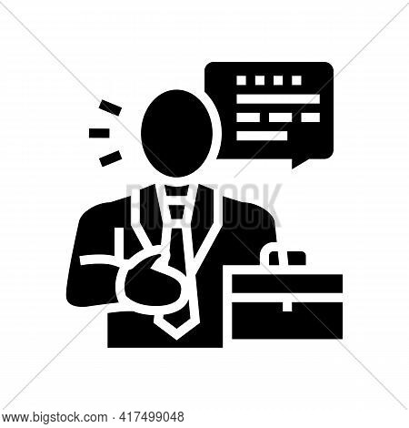 Lawyer Man Glyph Icon Vector. Lawyer Man Sign. Isolated Contour Symbol Black Illustration
