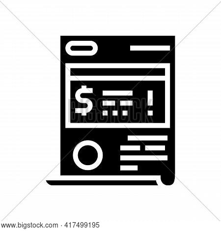 Penalty Law Dictionary Glyph Icon Vector. Penalty Law Dictionary Sign. Isolated Contour Symbol Black