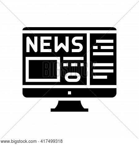 Reading News Mens Leisure Glyph Icon Vector. Reading News Mens Leisure Sign. Isolated Contour Symbol