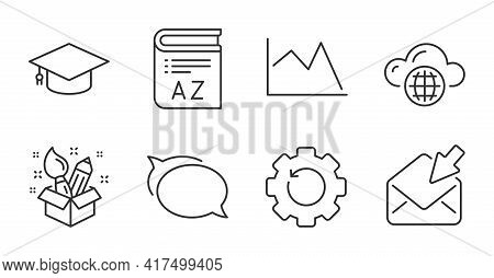 Creativity, Cloud Computing And Open Mail Line Icons Set. Line Chart, Vocabulary And Recovery Gear S
