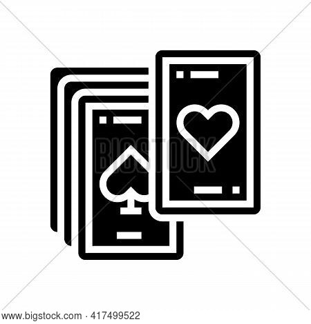 Play Cards Mens Leisure Glyph Icon Vector. Play Cards Mens Leisure Sign. Isolated Contour Symbol Bla