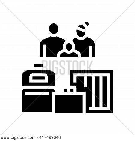 Family Refugee With Luggage Glyph Icon Vector. Family Refugee With Luggage Sign. Isolated Contour Sy