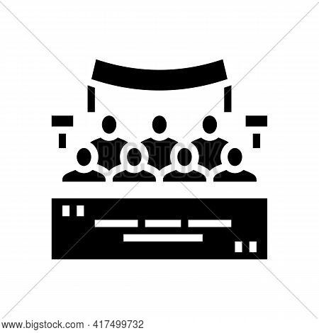 Meeting Of Refugee People Glyph Icon Vector. Meeting Of Refugee People Sign. Isolated Contour Symbol