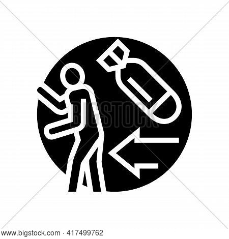 Escape From War Refugee Glyph Icon Vector. Escape From War Refugee Sign. Isolated Contour Symbol Bla