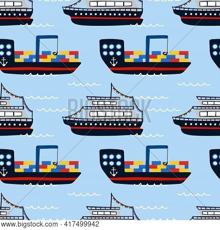 Cargo Barge And Cruise Ship Seamless Pattern. Cartoon Hand Drawn Sail Childish Collection, Water Tra