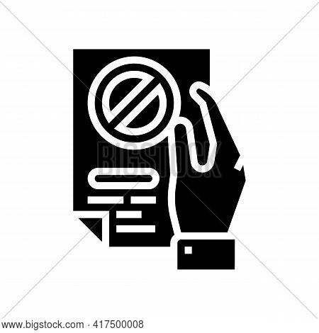 Denial Of Entry Refugee Glyph Icon Vector. Denial Of Entry Refugee Sign. Isolated Contour Symbol Bla