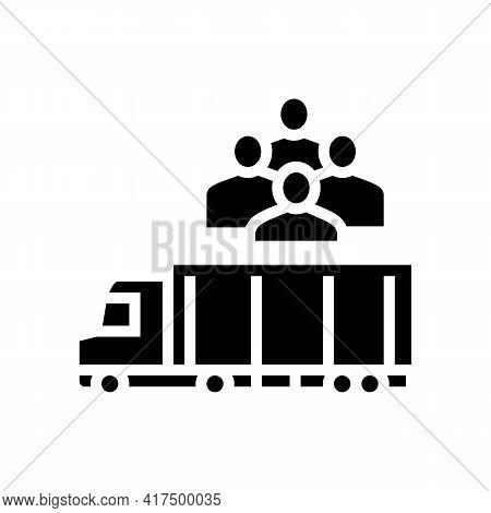 Truck Transportation Refugee Glyph Icon Vector. Truck Transportation Refugee Sign. Isolated Contour