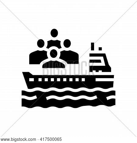 Ship Transportation Refugee Glyph Icon Vector. Ship Transportation Refugee Sign. Isolated Contour Sy