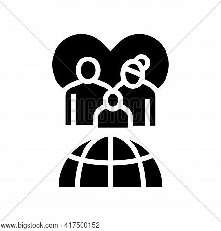 Family Refugee World Aid Glyph Icon Vector. Family Refugee World Aid Sign. Isolated Contour Symbol B