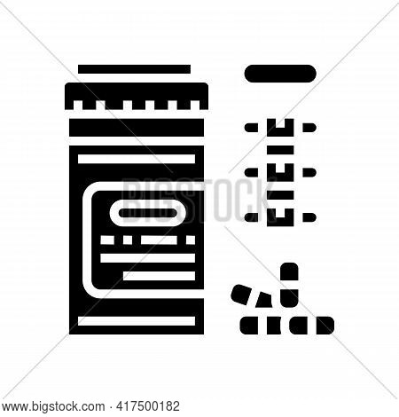 Pain Reliever Pills Scoliosis Glyph Icon Vector. Pain Reliever Pills Scoliosis Sign. Isolated Contou