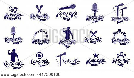 Karaoke Party Or Club Logos And Emblems Vector Set Isolated, Singing Music Nightlife Entertainment W