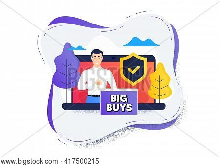 Big Buys. Protect Computer Online Icon. Remote Education Class. Special Offer Price Sign. Advertisin