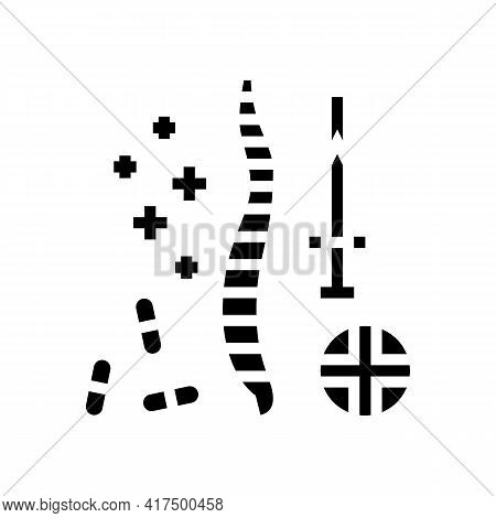 Treatment Scoliosis Glyph Icon Vector. Treatment Scoliosis Sign. Isolated Contour Symbol Black Illus