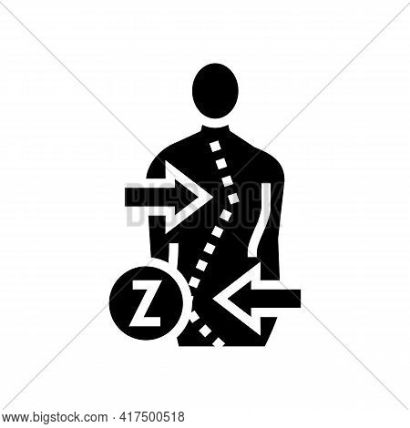 Z-shaped Scoliosis Glyph Icon Vector. Z-shaped Scoliosis Sign. Isolated Contour Symbol Black Illustr