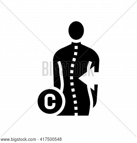 C-shaped Scoliosis Glyph Icon Vector. C-shaped Scoliosis Sign. Isolated Contour Symbol Black Illustr