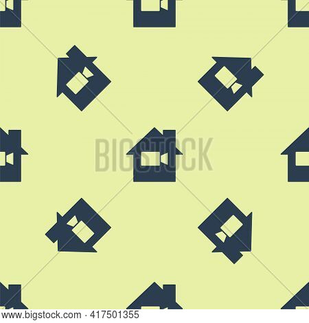 Blue Video Camera Off In Home Icon Isolated Seamless Pattern On Yellow Background. No Video. Vector