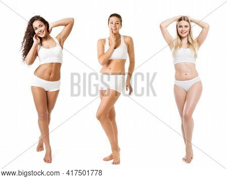 Group Of Beauty Women Different Body Size Weight Type Skin Color Tan. Diverse Ethnic. Body Positive.