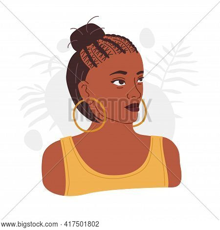 Woman With Ghana Braids And Big Round Earrings. African American Hairstyle. Modern Vector Illustrati