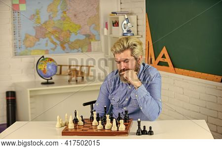 Chess Is Rarely Game Of Ideal Moves. Chess Lesson. Strategy Concept. School Teacher. Playing Chess.