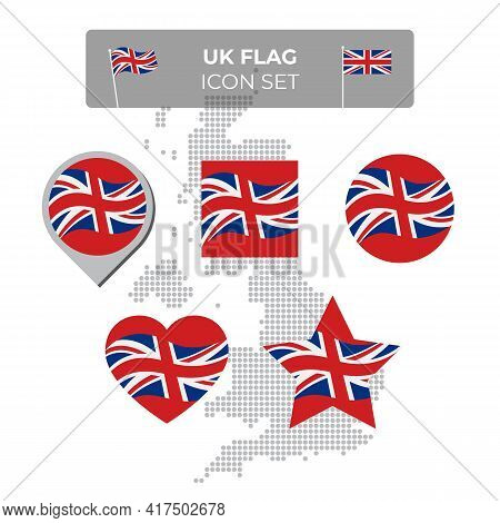 United Kingdom, Great Britain Wavy Flag Icons Set In Shape Of Square, Heart, Circle, Stars, Pointer,