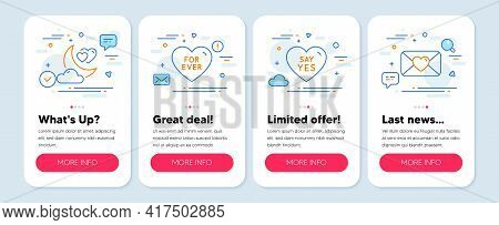 Set Of Love Icons, Such As Love Night, For Ever, Say Yes Symbols. Mobile App Mockup Banners. Valenti