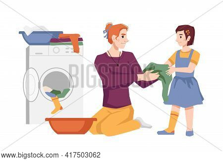 Woman With Her Daughter Washes Clothes, Puts Apparel Into Washing Machine, Laundry House Chores. Mot