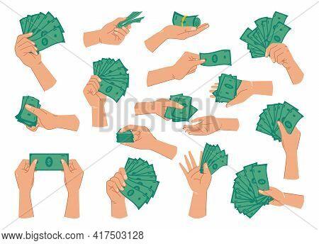 Green Dollar Banknotes In Hands, Isolated Set Of Palms With Paper Money For Paying. Giving Loan, Sav