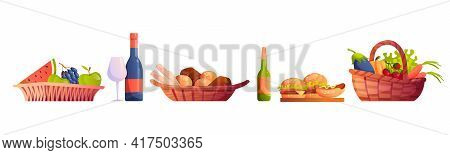 Wicked Baskets With Food And Drinks Isolated. Fruits And Vegetables, Wine Glass And Beer, Bakery Bre