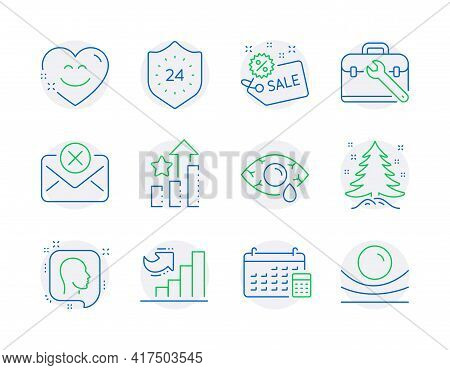 Business Icons Set. Included Icon As Smile Chat, Growth Chart, Head Signs. 24 Hours, Ranking Stars,