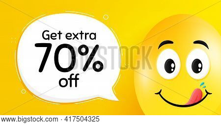 Get Extra 70 Percent Off Sale. Easter Egg With Yummy Smile Face. Discount Offer Price Sign. Special