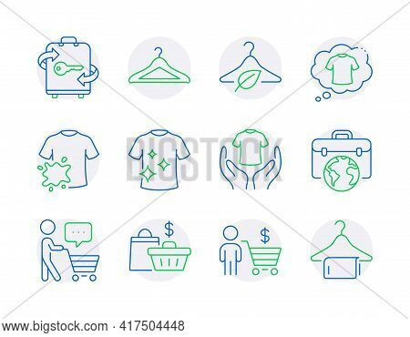 Fashion Icons Set. Included Icon As Luggage, Businessman Case, Clean T-shirt Signs. Dirty T-shirt, S
