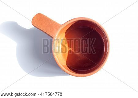 Ceramic Brown Tableware In Direct Sunlight On A Light Background Top View Tableware With Hard Shadow