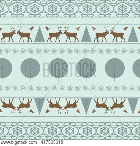 Seamless Ornament With The Image Of Trees And Deer
