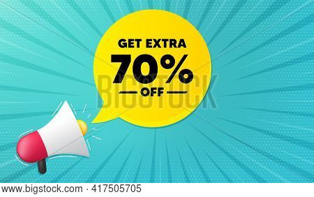 Get Extra 70 Percent Off Sale. Background With Megaphone. Discount Offer Price Sign. Special Offer S