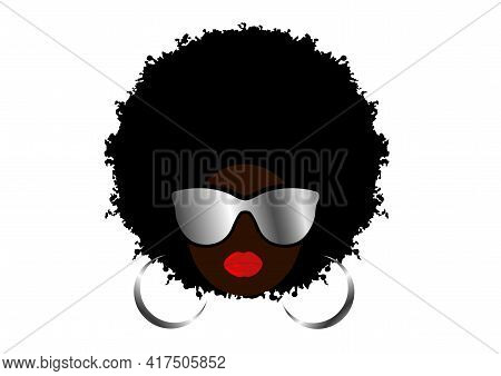 Kinky Curly Afro Hair, Portrait African Woman Wear Sunglasses, Dark Skin Female Face, Ethnic Traditi