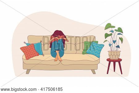 Upset Woman Hiding Face On Sofa As Mental Health Concept