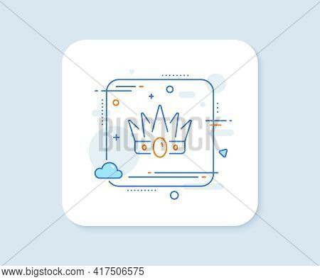 Crown Line Icon. Abstract Square Vector Button. King Or Queen Corona Sign. Royal Monarchy Symbol. Cr
