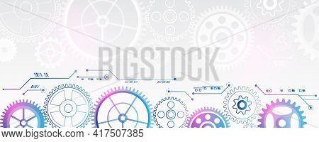 Futuristic Cogwheels Movement Illustration. Vector Cogwheels Modern Mechanism. Industrial Concept. H