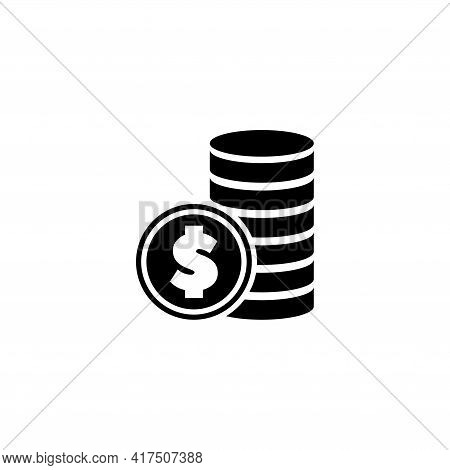 Dollars Coins Stack, Wealth, Money. Flat Vector Icon Illustration. Simple Black Symbol On White Back