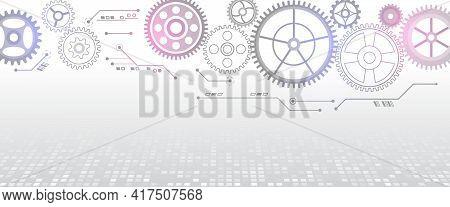 Vector Cogwheels Modern Mechanism. Industrial Concept. Hi Tech Made Of Gears Background. Futuristic