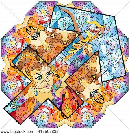 Sagittarius Zodiac Sign With Mandala, Astrology Concept Art. Tattoo Design