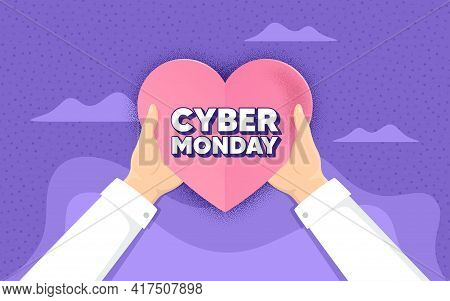 Cyber Monday Sale. Charity And Donate Concept. Special Offer Price Sign. Advertising Discounts Symbo