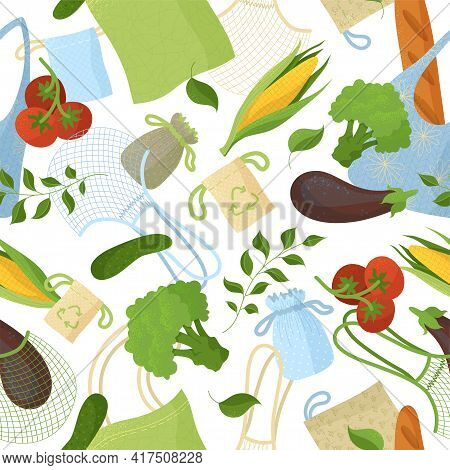 Natural Products In Recyclable Bags Seamless Pattern