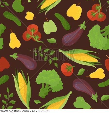Vegetables And Fruits, Greengrocery Items Seamless Pattern