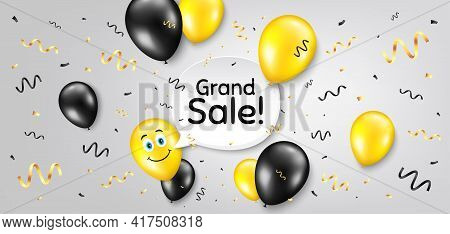 Grand Sale Symbol. Balloon Confetti Vector Background. Special Offer Price Sign. Advertising Discoun