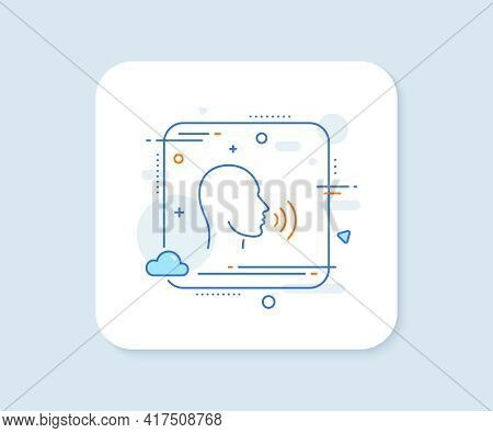 Human Sing Line Icon. Abstract Square Vector Button. Talk Sign. Person Speak Symbol. Human Sing Line