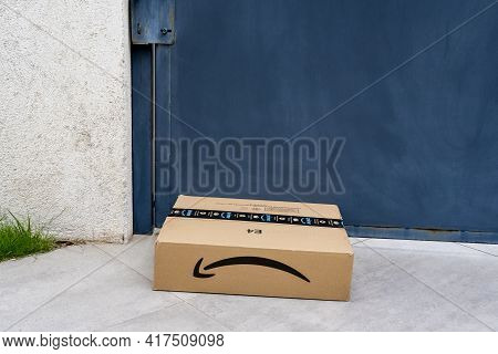 Nice, France - 14.04.2021: Image Of Amazon Package Delivered To A Home. Amazon Prime Logotype Printe
