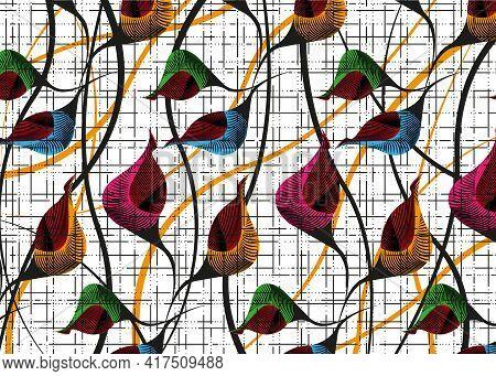 African Wax Print Fabric, Colorful Ethnic Handmade Ornament Design, Tribal Pattern Motifs Floral Ele